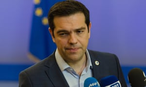 Alexis Tsipras, Greece's prime minister, speaking to journalists after agreeing to implement further reforms in return for a third bailout
