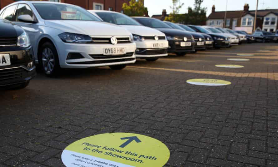 Social distancing measures in place at a Volkswagen dealership