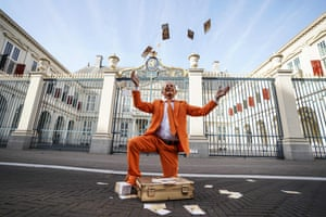 A royal supporter outside the Noordeinde Palace in The Hague, Netherlands