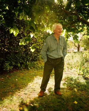 Author Philip Pullman, photographed in the garden of his home outside Oxford .