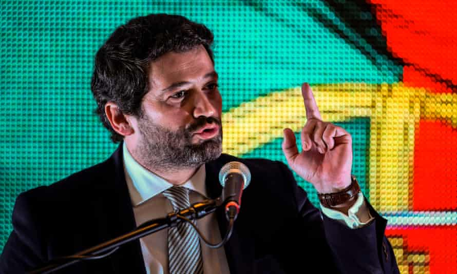 Far-right candidate and leader of the Chega party, André Ventura speaks to supportets after the election in which he won 12% of the vote.