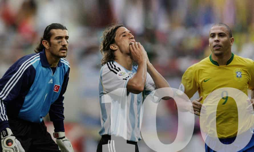 Turkey's Rustu Recber, Hernan Crespo of Argentina and Brazil's Ronaldo are three of the 169 judges on this year's panel. Photographs by Action Images and Getty Images. Composite: Jim Powell