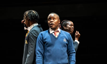 Khai Shaw, Anyebe Godwin and Rachel Nwokoro in Little Baby Jesus at the Orange Tree theatre in 2019.