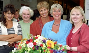 Patricia Brake, far right, with fellow cast members after the final episode was aired, from left, Sandra Sandri, Faith Kent, Hilary Crane and Polly Perkins.