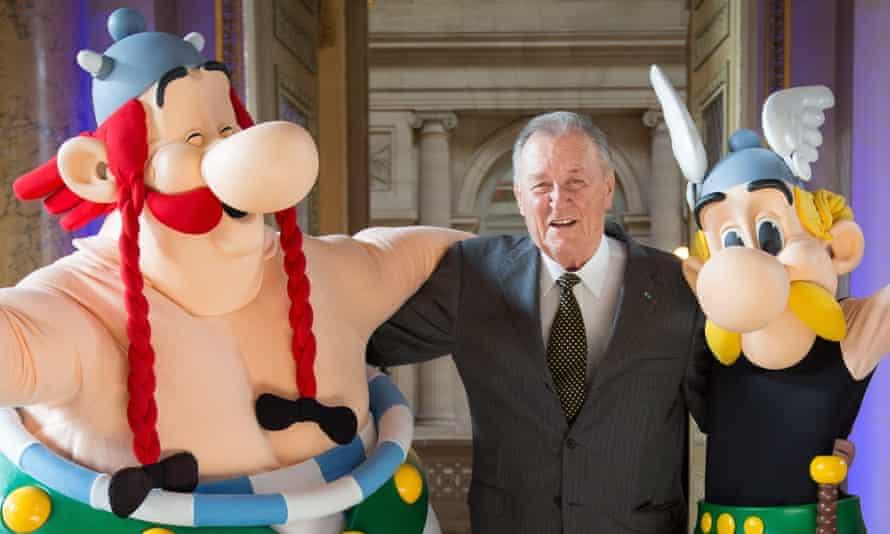 International treasures … Albert Uderzo with his creations, Obelix, left, and Asterix.