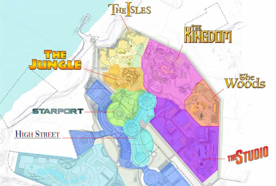 Themed lands … The Jungle, The Isles, The Kingdom, The Woods, The Studio, High Street and Starport.