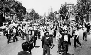 Protesters in Tehran during the 1953 coup.