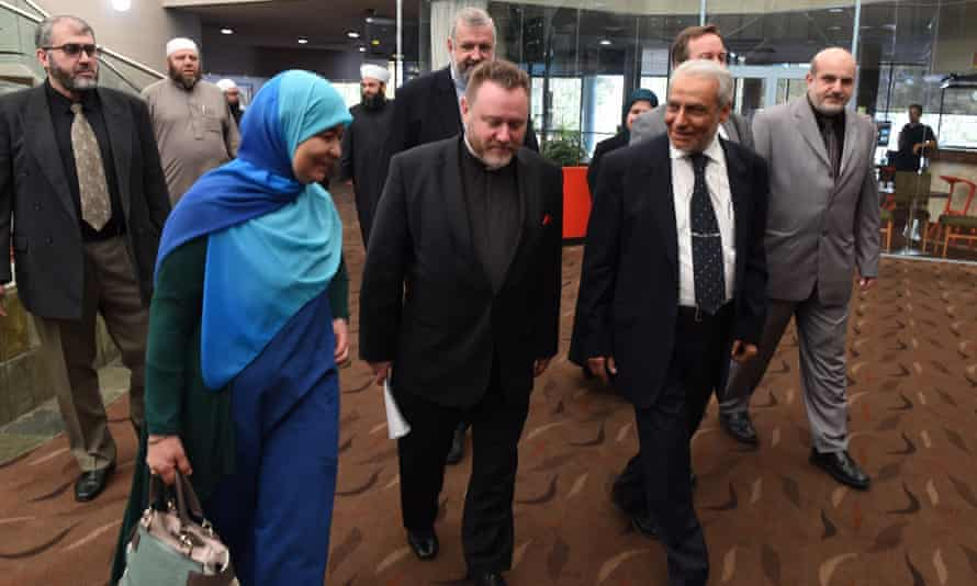 Maha Abdo of the Muslim Women's Association, Father Rod Bower of Gosford Anglican Church and His Eminence, Dr Ibrahim Abu Mohamed, Mufti of Australia