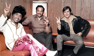 "Rick Hall, right, with Robert ""Bumps"" Blackwell and Little Richard, left, at Fame Studio, Muscle Shoals, Alabama, 1970."