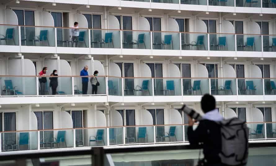 Quarantined passengers stuck aboard the World Dream in Hong Kong.