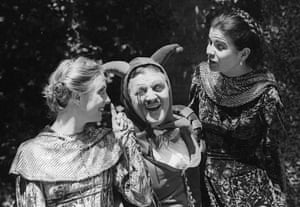 Cathryn Harrison as Rosalind, John Kane as Touchstone and Sarah-Jane Holm as Celia in As You Like It.