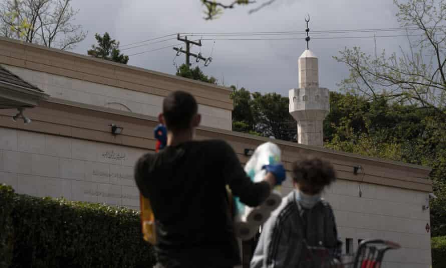 Volunteers sort donations at Dar Al-Hijrah Islamic Center in Falls Church, Virginia, in April 2020.