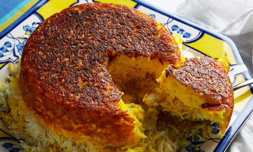 'Strangers would invite me to stay and the feeding would begin as soon as I walked through the door…': Persian saffron rice.