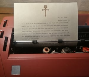 Echoes … our writer starts his piece on Thompson's typewriter.