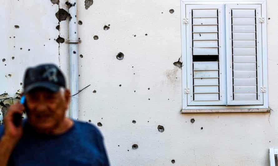 Wall damaged by rocket fire in Israeli town of Sderot