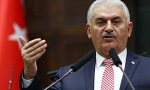 Binali Yıldırım speaks in Ankara on Tuesday.