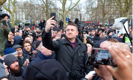 Right-wing agitator Tommy Robinson at Speakers Corner, London, last month. He read a speech by barred Austrian nationalist activist Martin Sellner.