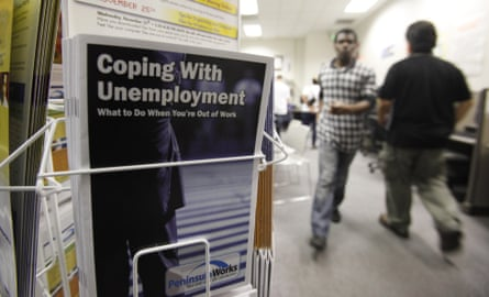 People seek employment opportunities at a JobTrain office in Menlo Park, California.