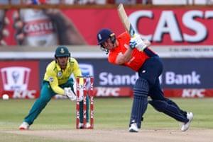 England's Jason Roy hits a six.