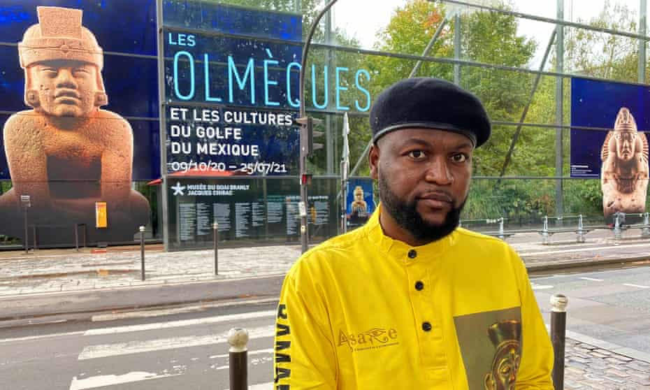 'This restitution must be immediate' … Mwazulu Diyabanza outside the Quai Branly museum, Paris.