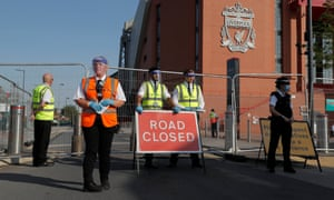 Anfield Road is blocked before the match between Liverpool and Crystal Palace.