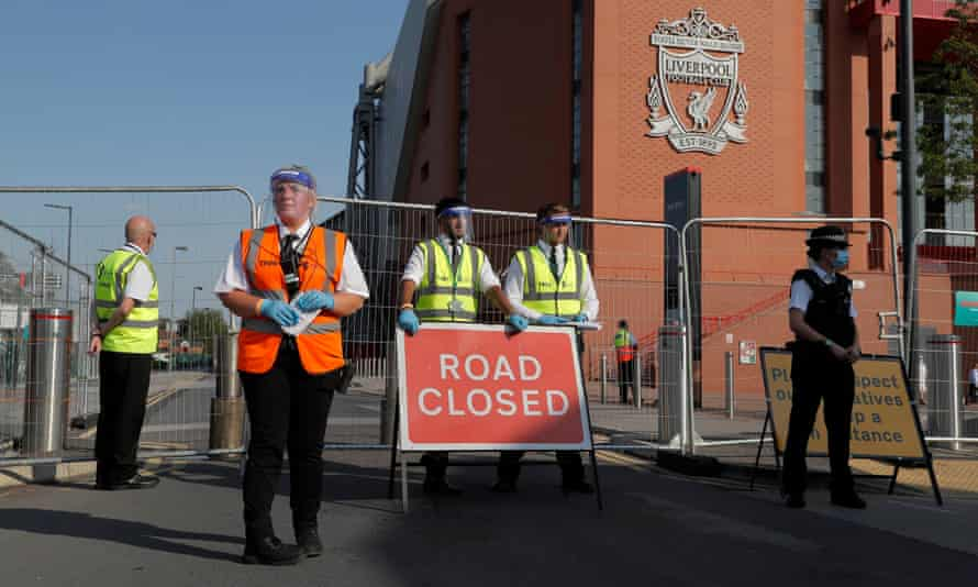 Anfield Road is blocked off before the match between Liverpool and Crystal Palace.