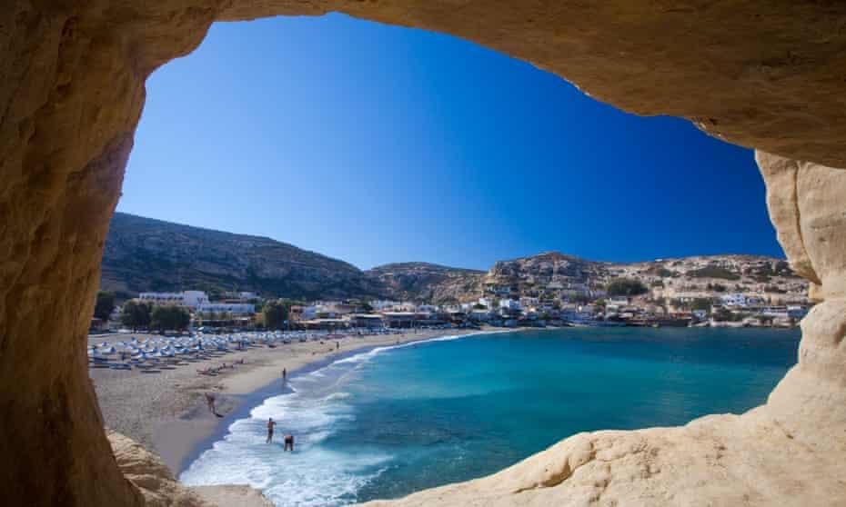 Matala beach inside a cliff cave, Crete.
