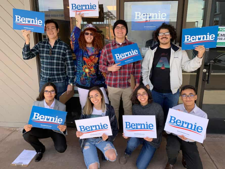 Bernie Sanders volunteers in front of the campaign office for the University of Nevada-Las Vegas in January.