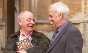 Colin Dexter with John Thaw in 1990.