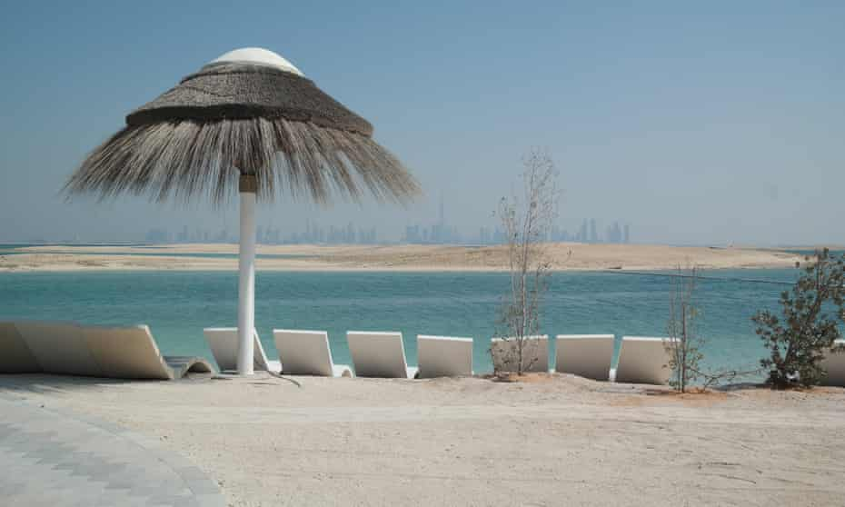 Loungers on Lebanon, looking across to Palestine, with the Dubai skyline in the background.