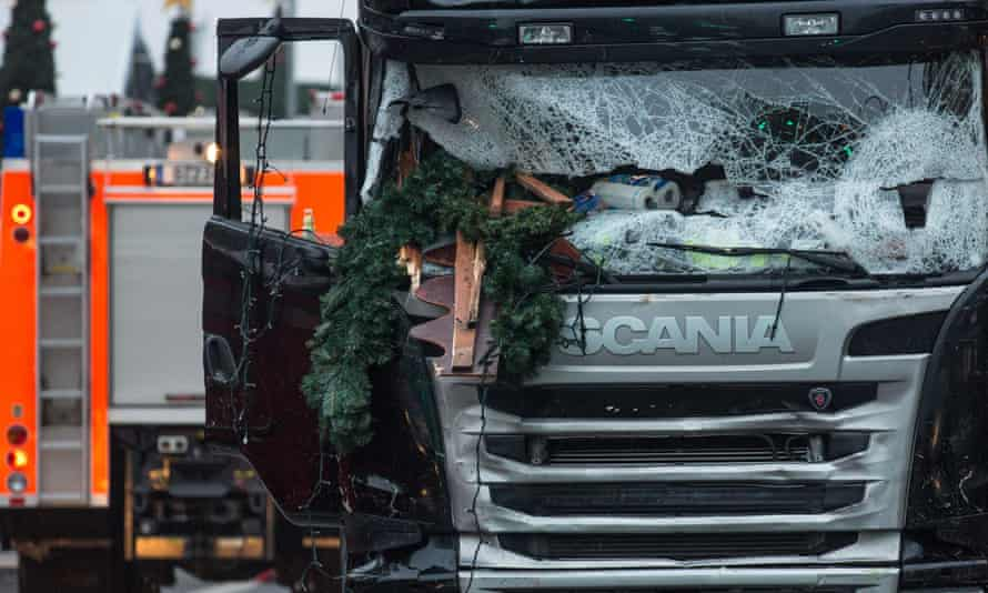 The truck at the scene of the attack