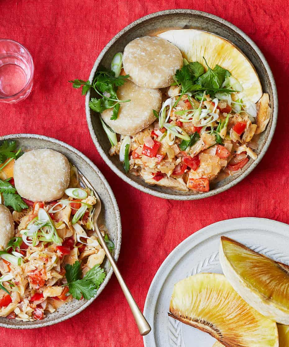 Keshia Sakarah's stew saltfish with coconut dumplings and roast breadfruit.