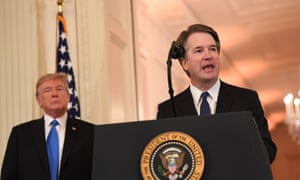 Brett Kavanaugh with Donald Trump. Many are looking closely has Kavanaugh's views on criminal investigations and executive power.