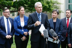 Labor manager of opposition business Tony Burke with Penny Wong and her fellow South Australian parliamentarians.
