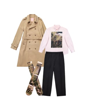 Trench, £149.99, shirt, £69.99, trousers, £69.99, and socks, £17.99.