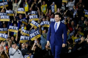 Buttigieg arrives at his New Hampshire primary night rally in Nashua on 11 February.