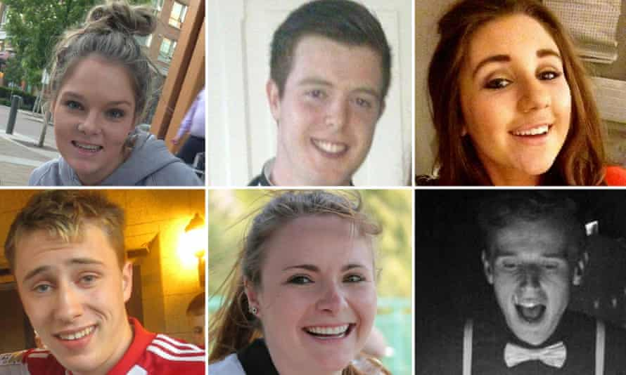 Irish students who died after a balcony collapsed in Berkeley, California. Clockwise from top left: Olivia Burke, Eoghan Culligan, Eimear Walsh, Lorcan Miller, Ashley Donohoe and Niccolai Schuster.