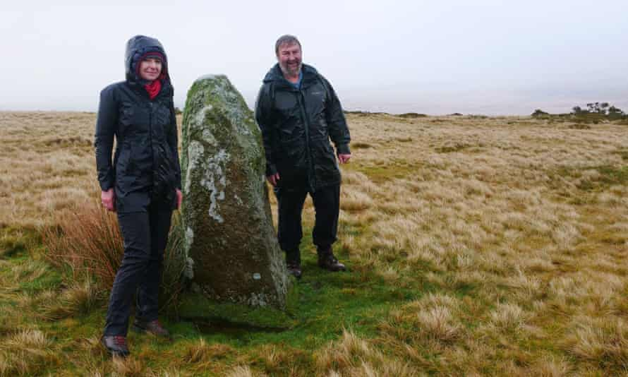 Alice Roberts with Mike Parker Pearson at one of the remaining Waun Mawn stones.