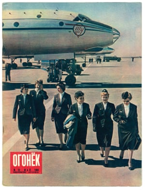 Flight attendants disembark from a Tupolev Tu-104 at Vnukovo airport in Moscow, 1959. The image features on the cover of Ogonek magazine, one of the oldest weekly publications in Russia