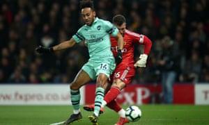 Pierre-Emerick Aubameyang scores for Arsenal v Watford