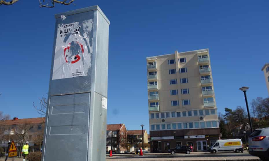 An anti-Nazi poster in Kungälv, Sweden, defaced ahead of a neo-Nazi march taking place in the city on 1 May.