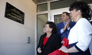 "Radovan Karadzic's daughter Sonja and wife Ljiljana Zelen, and president of Republika Srpska Milorad Dodik attend a ceremonious unveiling of a plate that says ""Student Dormitory - Dr Radovan Kadarzic"" in Pale near Sarajevo."