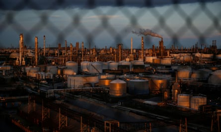 Chemical plants and refineries pictured near the Houston Ship Channel, Texas.