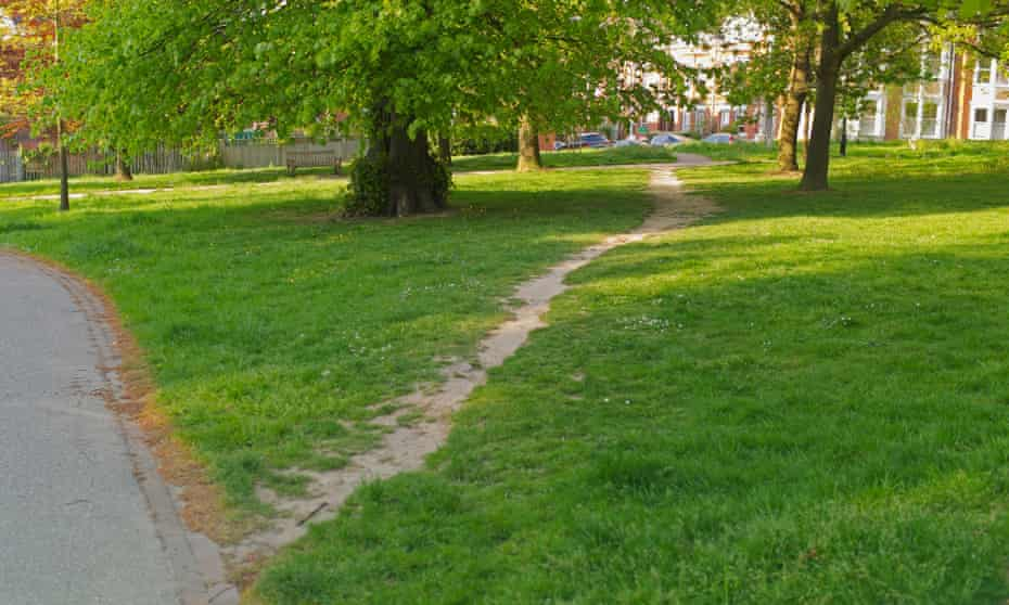 An desire path - an unofficial shortcut - in a park in Tunbridge Wells.