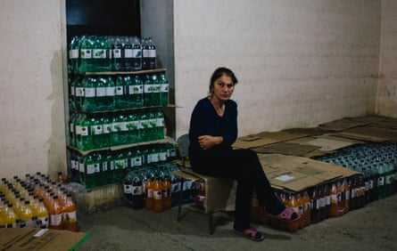 Stella Hayrapetyanseen sits inside a bomb shelter in Stepanakert
