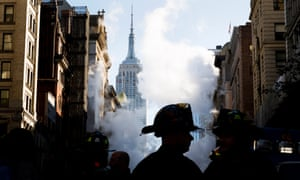 New York, USFirefighters at the scene of a high-pressure steam explosion on Fifth Avenue