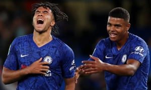 Reece James (left) scored Chelsea's fifth on his debut, on a night when Frank Lampard also gave Tino Anjorin his first outing.