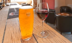 Pint and wine on the bar