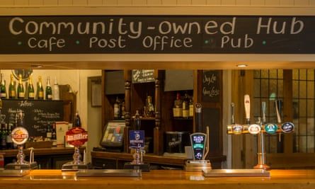 Sign reading community-owned hub, Anglers Rest, Bamford, Derbyshire