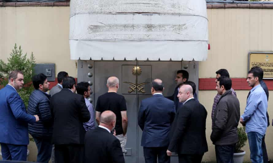 Saudi officials arrive at the Saudi consulate in Istanbul to investigate the disappearance of journalist Jamal Khashoggi.
